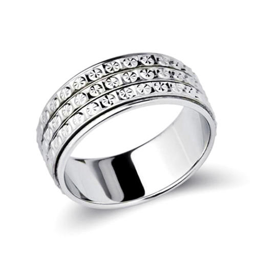 Classic 925 sterling silver diamond band ring rotary movement turn finger ring for women wholesale