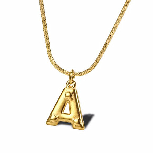 Women stylish initial jewels 14k gold plating letter pendant necklaces wholesale