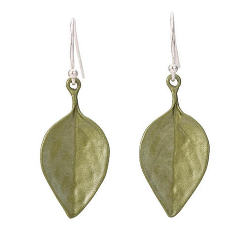 Fashion brass jewelry OEM leaves design drop earrings for women