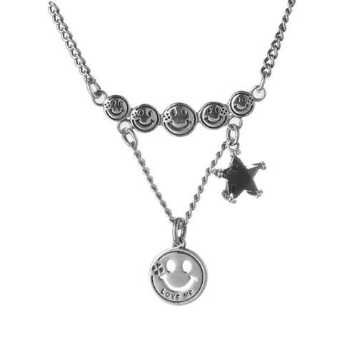 Antique style silver jewelry smile faces and tag pendant necklace for women