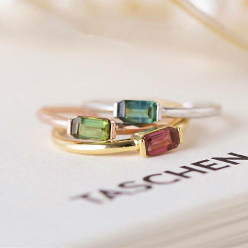 Gold plated emerald cut tourmaline rings high gemstone jewelry green tourmaline ring antiques stone jewellery 925 sterling silver band