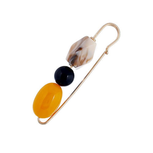Stylish acrylic beads jewelry women costume fashion safety pin gold plated brooch