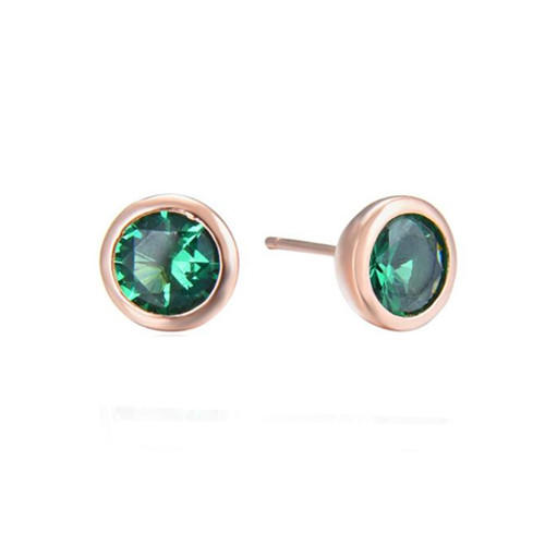 Rose gold plated sterling silver ear stud earring with crystals green quartz earrings studs wholesale