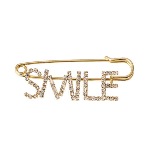 Personalized fashion fine jewelry OEM customized meaningful word letter brooch pins wholesale gold plated breastpin in bulk