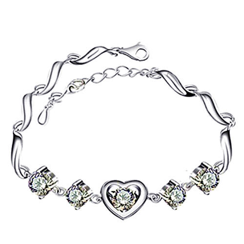Heart shaped clear crystal diamond bracelets adjustable purple crystal silver chain bracelets for women wedding gifts