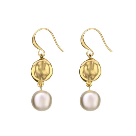 Irregular baroque style jewels 18k gold plated long drop hook dangle pearl earrings