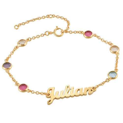 18k gold plating nameplate bracelets with birthstone personalised name anklets
