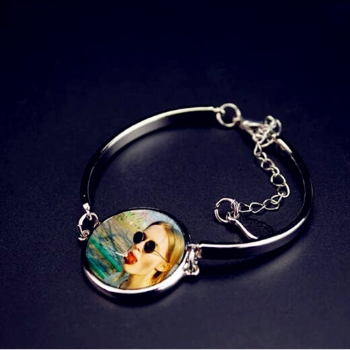 Customized photo jewelry wholesale high quality picture charm cuff bangles