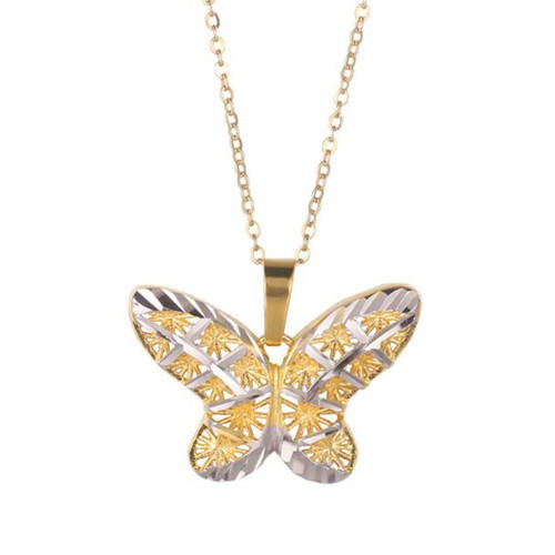 Gold and silver two-tone hollow out butterfly pendant O chain necklace for women