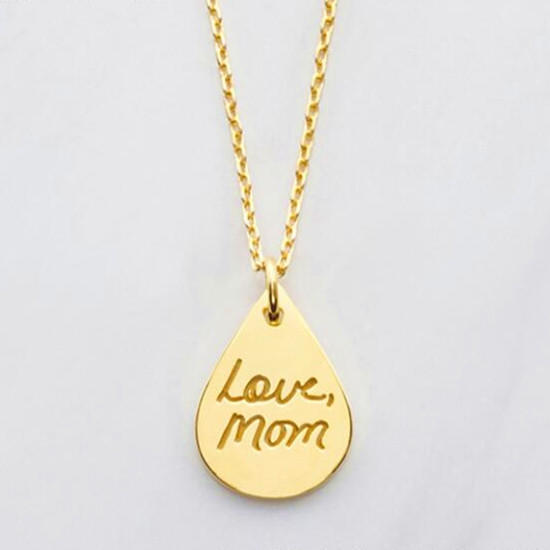 18K gold plated waterdrop pendant letter engraved necklace personalized name jewelry in 925 sterling silver