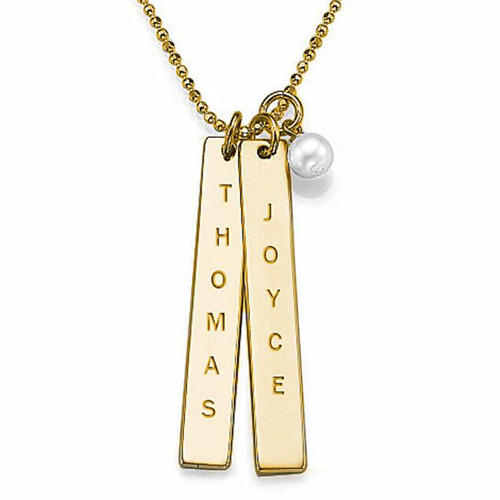 3 names necklace family lover couples jewelry gift in 18ct gold plating