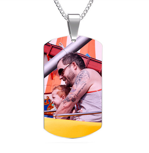 High polished color pendant dog tag photo necklace box chain mens jewelry