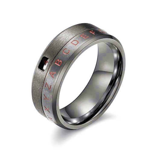 Black color mens spinner rings wholesale personalized name engraving jewellery