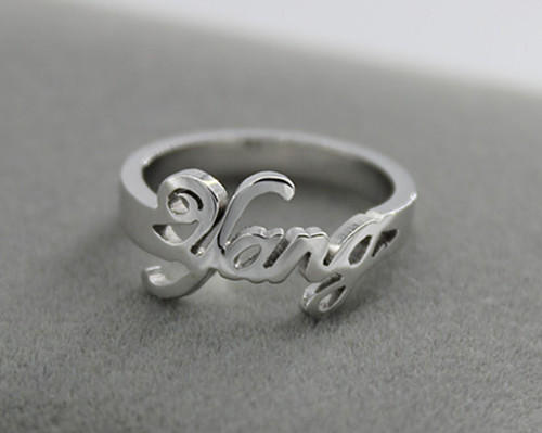 Old english letter handmade name ring customized with any name silver jewellery for women