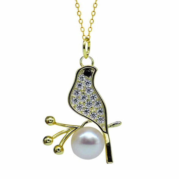 Antique gold color little bird pendant necklace with fresh water pearl in sterling silver supplier online china wholesale