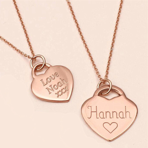 Photo pendant heart necklace rose gold plating text letter engraved jewellery