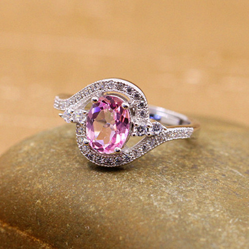 Light pink topaz gemstone cluster engagement ring sterling silver dainty diamond and blue topaz stone anniversary jewelry