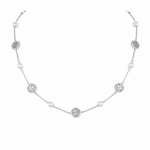 Women fashion beaded jewelry pearl and zircon charm chain necklace in rhodium plating