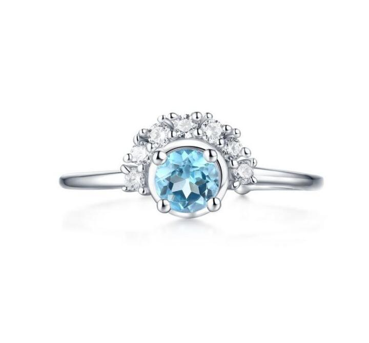 Swiss blue topaz jewellery white gold plated 925 sterling silver finger diamond rings