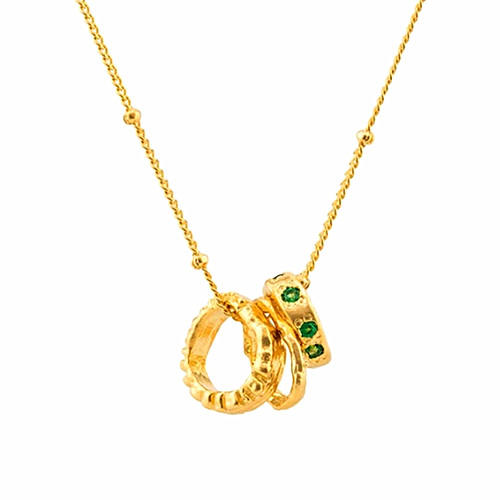 Vintage brass jewelry wholesale 18k gold plated circles pendant zircon necklace