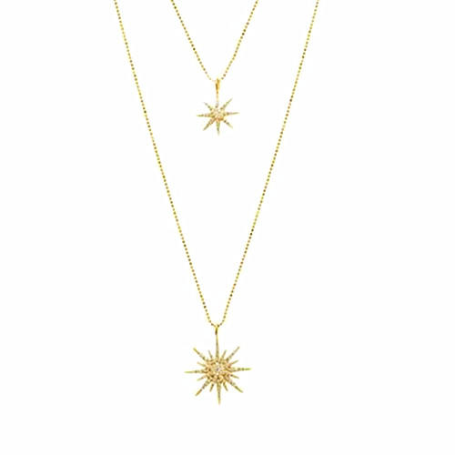 Two layered diamonds jewelry stars pendant necklaces for women