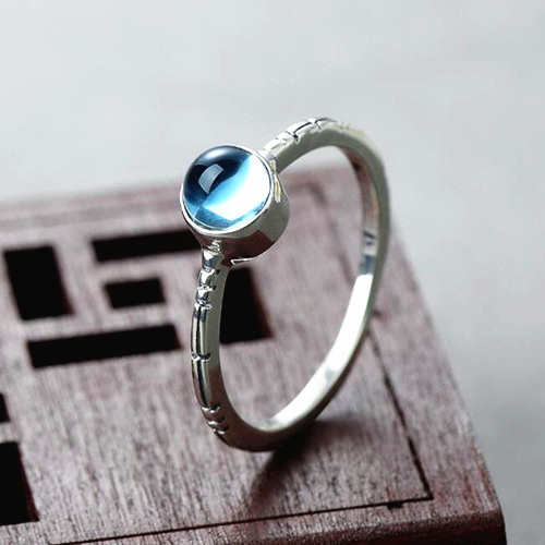 Blue topaz ring 925 sterling silver stacking gemstone rings for women vintage jewelry