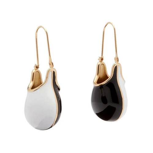 Trendy enamel gold jewellery custom made bag shape drop women earrings