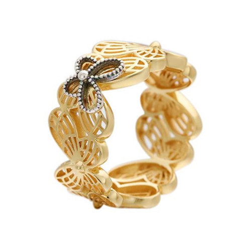 Hollow out big butterfly finger ring wholesale gold plated 925 sterling silver band ring in bulk personalized jewelry manufacturer china
