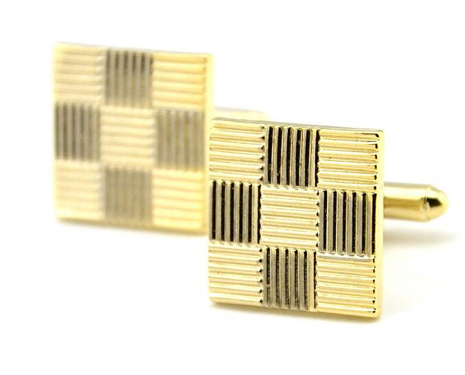 Gold plated grid cufflinks vintage personalised tie clip wholesale sleeve button for men