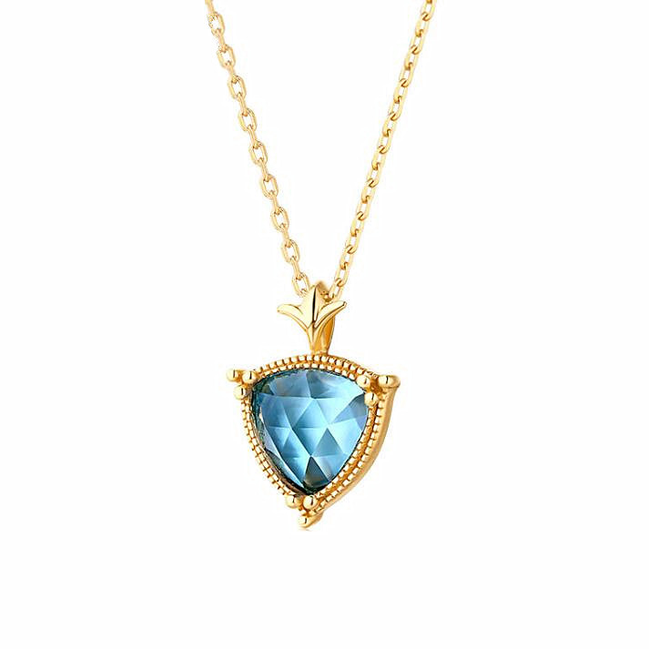 9K gold plated sterling silver jewelry triangle shaped sky blue topaz necklace
