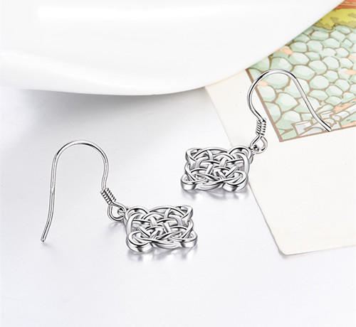 S925 Sterling Silver Celtic Knot Dangle Earrings for Women
