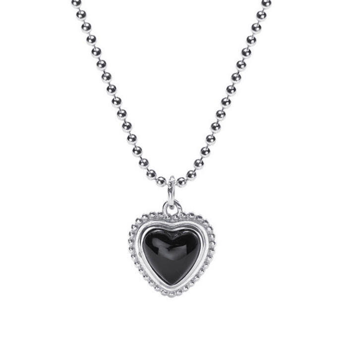 Heart shaped black agate pendant 925 sterling silver beaded chain necklace