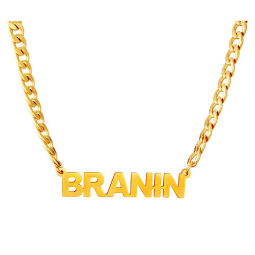 Personalized mens jewelry custom made real gold plated nameplate pendant customization chunky chain necklace wholesale