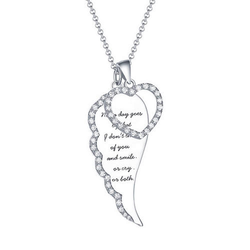 Personalized name engraved jewellery cubic zrconia CZ gold plated angel wing feathered heart pendant necklace for women 925 silver