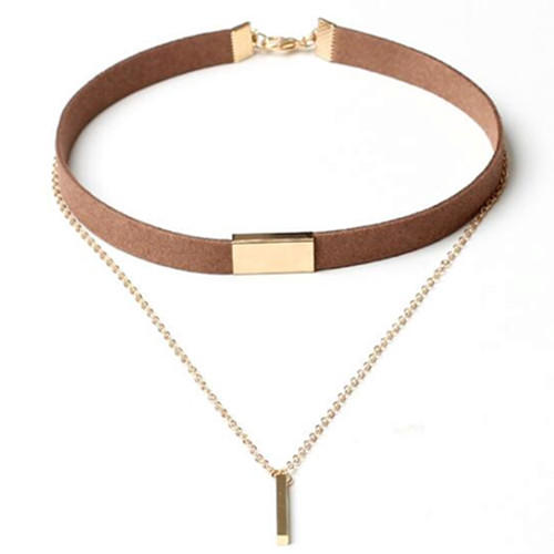 High end women fashion jewellery 2 layers vertical bar pendant gold plated choker necklace