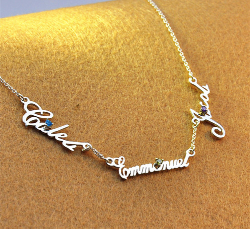 S925 silver name necklace with heart charm Butterfly charm personalized pendant jewelry