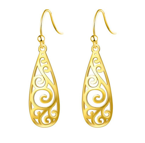 Handcrafted fine jewelry unusual sterling silver earrings long dangle drop vase-shaped earrings in gold plating