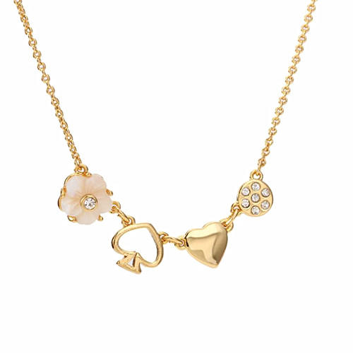 New design brass jewels wholesale flower and heart zircon necklace for women