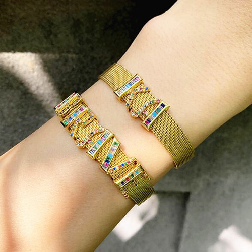 Colorful CZ personalized jewelry custom made name cuff bangles wholesale