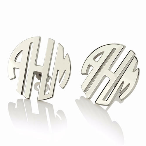 Name jewelry sterling silver monogram earrings women's monogrammed pearl earrings wholesale