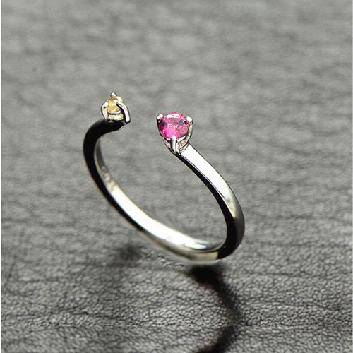 Open design natural tourmaline gem jewelry sterling silver quality vintage pink tourmaline anniversary ring yellow quartz rings jewelry wholesale vendors online