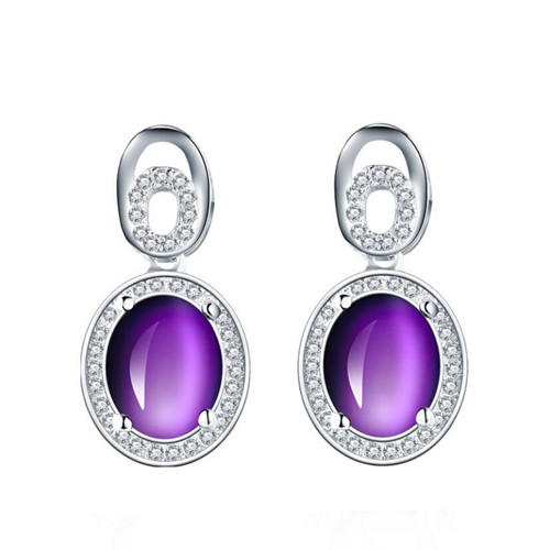 Fashion women cubic zirconia jewelry amethyst earrings 925 sterling silver studs earrings for women