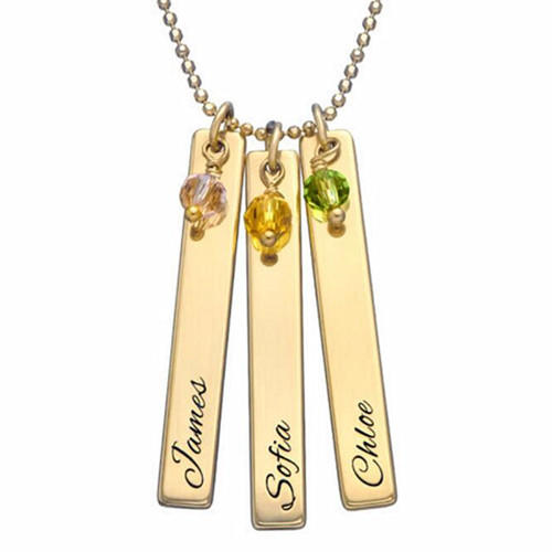 18K gold plating name engraved vertical bar necklace with birthstones in sterling silver girl jewelry gift