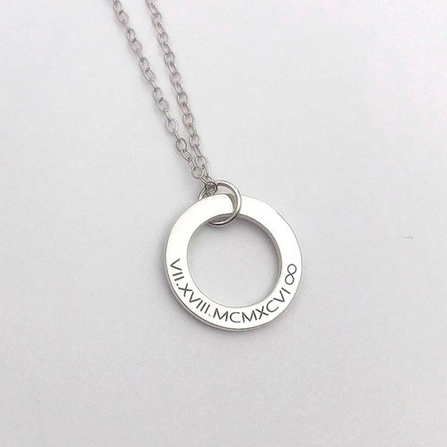 Eternity circle necklace silver mom jewelry sterling silver simple circle necklace gift for her everyday pendant necklace eternity jewellery