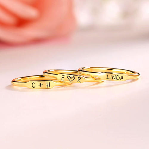 Tiny stacking customized band initials ring minimal names engraved stacking rings for mom