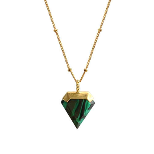 Antique malachite fine jewelry triangle pendant necklace in gold plating