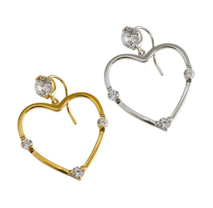 Heart shaped charm gold plated earrings with diamante in 925 sterling silver