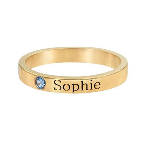 Name engraved personalized birthstone rings custom women jewellery gold plated