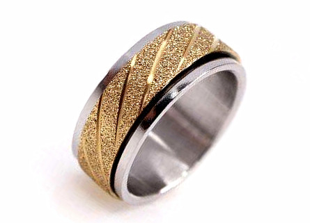 Sandblast finish jewelry supplier wholesale spinner ring manufacturer two tone jewellery factory and vendor china