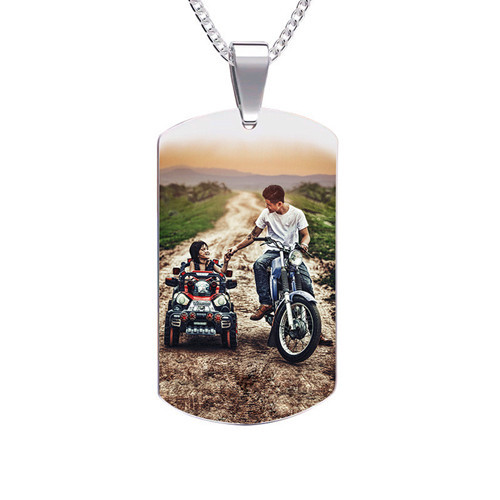Full color custom personalized dog tag picture pendant your photo text necklace with ball chain jewelry gift for him